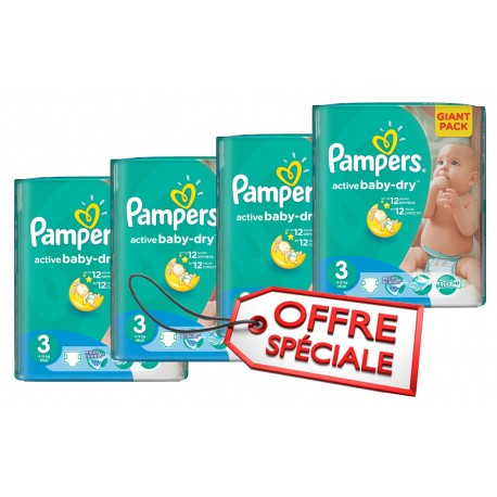Giga pack 248 Couches Pampers Active Baby Dry taille 3 sur 123 Couches
