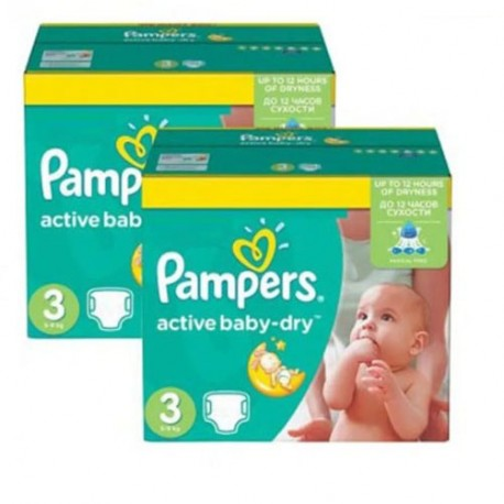 Maxi giga pack 372 Couches Pampers Active Baby Dry taille 3 sur 123 Couches