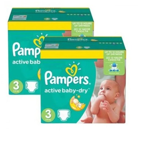 Pack jumeaux 744 Couches Pampers Active Baby Dry taille 3 sur 123 Couches