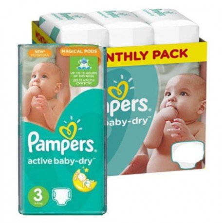 Pack jumeaux 992 Couches Pampers Active Baby Dry taille 3 sur 123 Couches