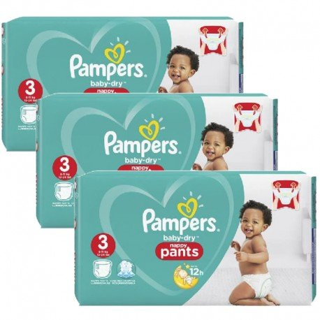 Mega pack 190 Couches Pampers Baby Dry Pants taille 3 sur 123 Couches