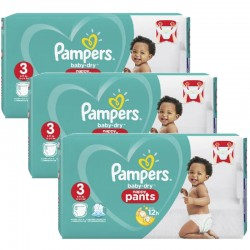 Giga pack 285 Couches Pampers Baby Dry Pants taille 3 sur 123 Couches