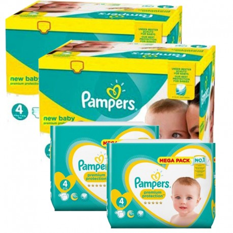 Maxi giga pack 312 Couches Pampers Premium Protection taille 4 sur 123 Couches