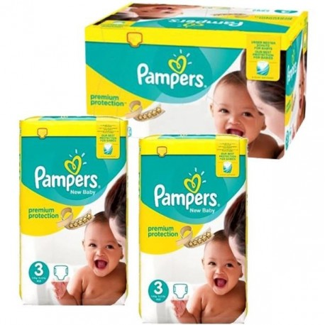 Giga pack 204 Couches Pampers New Baby Premium Protection taille 3 sur 123 Couches