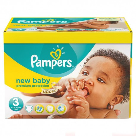 Maxi mega pack 408 Couches Pampers New Baby Premium Protection taille 3 sur 123 Couches