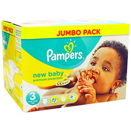 Pack jumeaux 544 Couches Pampers New Baby Premium Protection taille 3 sur 123 Couches