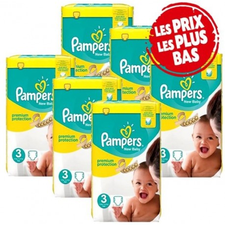 Pack jumeaux 612 Couches Pampers New Baby Premium Protection taille 3 sur 123 Couches