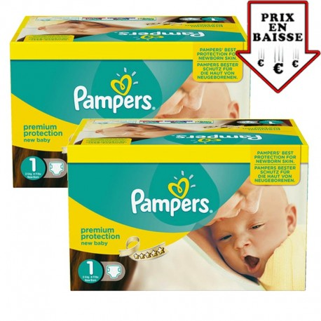 Pack jumeaux 896 Couches Pampers Premium Protection taille 1 sur 123 Couches