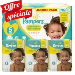 Pack jumeaux 748 Couches Pampers Premium Protection taille 5 sur 123 Couches
