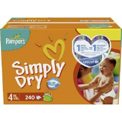 Pack 240 Couches Pampers de la gamme Simply Dry de taille 4+ sur 123 Couches
