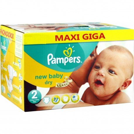 Pack jumeaux 748 Couches Pampers New Baby Dry taille 2 sur 123 Couches