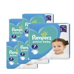 Maxi giga pack 308 Couches Pampers Active Baby Dry taille 7 sur 123 Couches