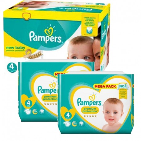 Maxi mega pack 408 Couches Pampers Premium Protection taille 4 sur 123 Couches