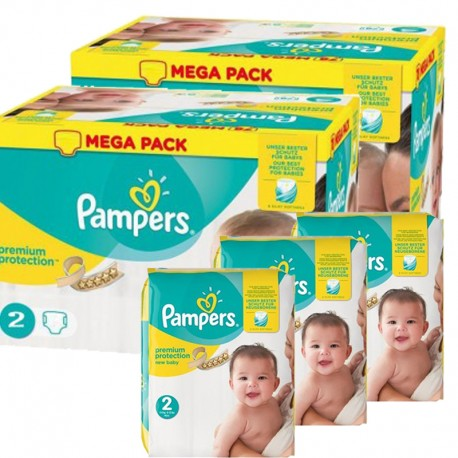 Pack jumeaux 589 Couches Pampers Premium Protection taille 2 sur 123 Couches