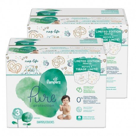 Mega pack 198 Couches Pampers Pure Protection taille 3 sur 123 Couches