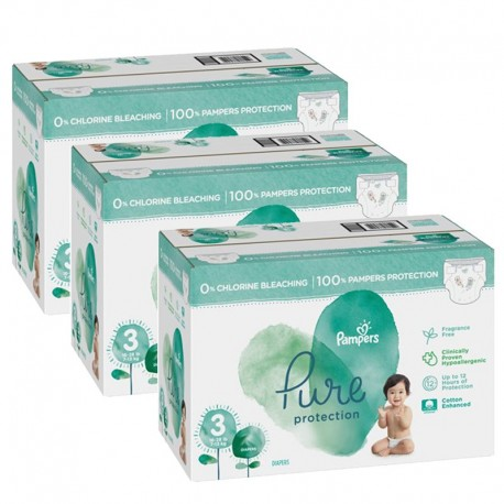 Giga pack 220 Couches Pampers Pure Protection taille 3 sur 123 Couches