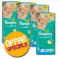 Pack 44 Couches Pampers Active Baby Dry taille 5 sur 123 Couches