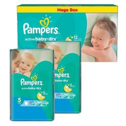 Pack 66 Couches Pampers Active Baby Dry taille 5 sur 123 Couches