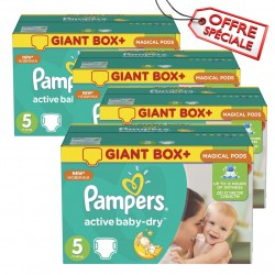 Pack jumeaux 572 Couches Pampers Active Baby Dry taille 5