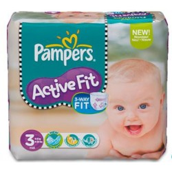 Pack 92 Couches de Pampers Active Fit de taille 3 sur 123 Couches