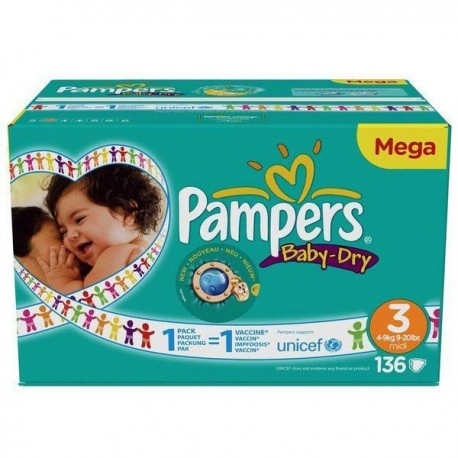 Pack 136 Couches de Pampers Baby Dry de taille 3 sur 123 Couches