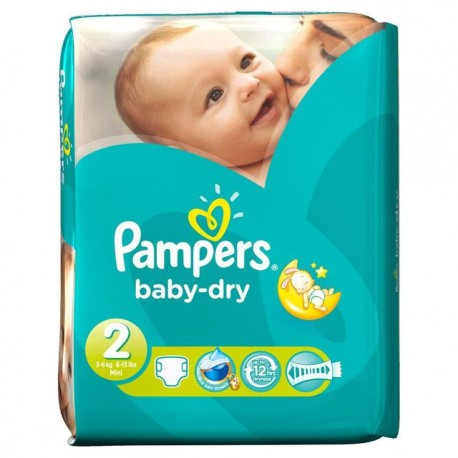 Pack 46 Couches Pampers Baby Dry taille 2 sur 123 Couches