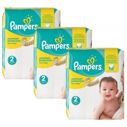 341 Couches Pampers New Baby Premium Protection taille 2 sur 123 Couches