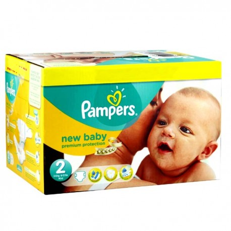 Maxi mega pack 403 Couches Pampers New Baby Premium Protection taille 2 sur 123 Couches