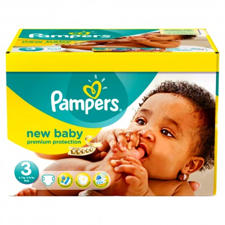 140 Couches Pampers New Baby Premium Protection taille 3 sur 123 Couches