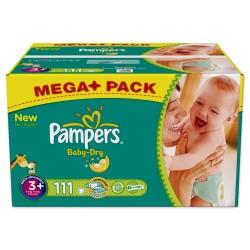 Pack d'une quantité de 111 Couches de Pampers Baby Dry de taille 3+ sur 123 Couches