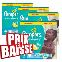 Mega pack 153 Couches Pampers Active Baby Dry taille 4