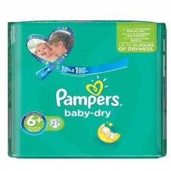 Pack d'une quantité de 27 Couches Pampers Baby Dry taille 6+ sur 123 Couches