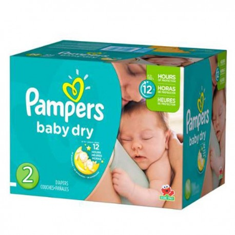 Maxi mega pack 414 Couches Pampers Baby Dry taille 2 sur 123 Couches