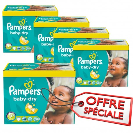 112 Couches Pampers Baby Dry taille 5+ sur 123 Couches