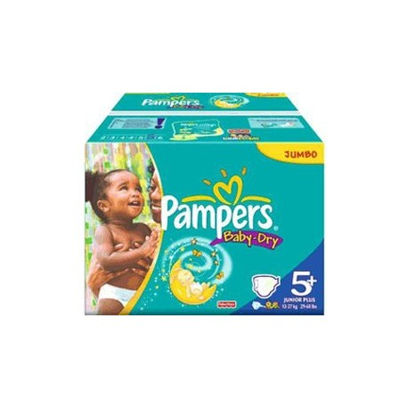 196 Couches Pampers Baby Dry taille 5+ sur 123 Couches