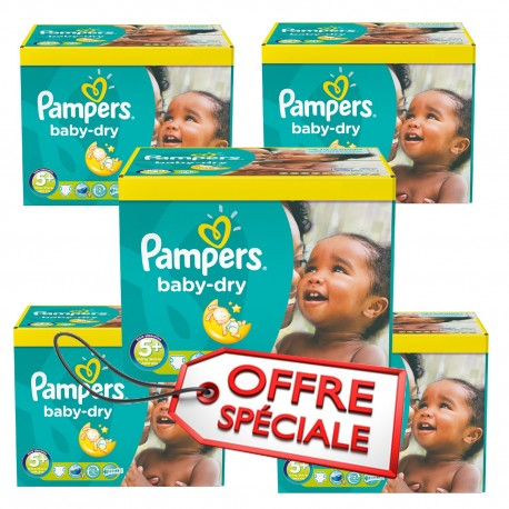 336 Couches Pampers Baby Dry taille 5+ sur 123 Couches