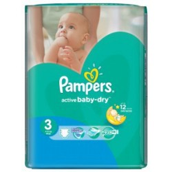 Pack 68 Couches Pampers Active Baby Dry taille 3