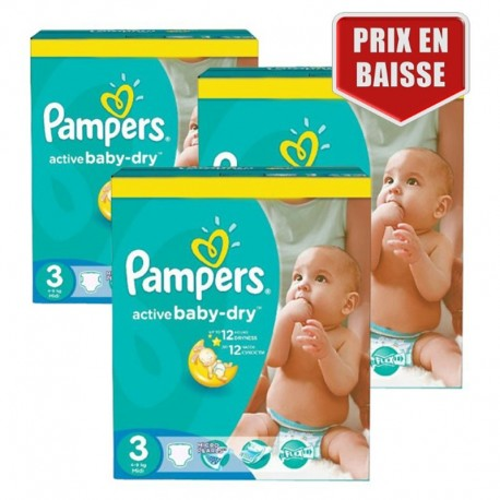 Pack jumeaux 680 Couches Pampers Active Baby Dry taille 3 sur 123 Couches