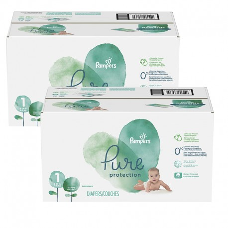 Mega pack 140 Couches Pampers Pure Protection taille 1 sur 123 Couches