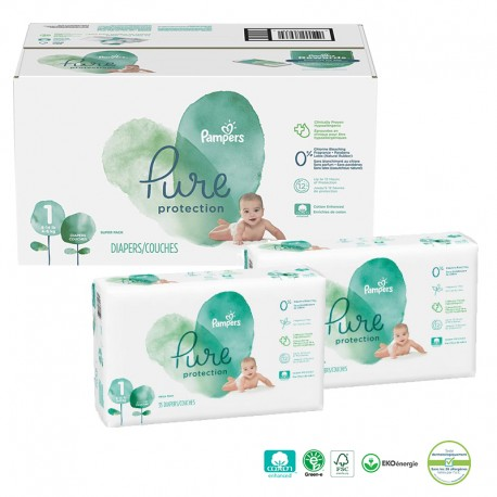 Giga pack 210 Couches Pampers Pure Protection taille 1 sur 123 Couches