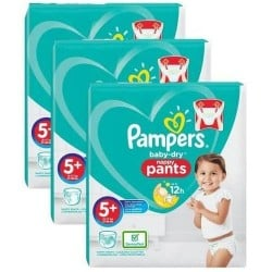 Mega pack 136 Couches Pampers Baby Dry Pants taille 5+ sur 123 Couches