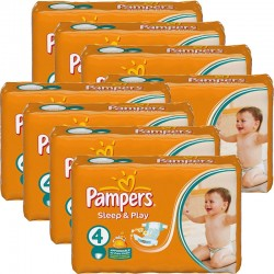 Maxi giga pack 350 Couches Pampers Sleep & Play taille 4