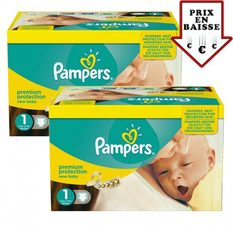 Mega pack 168 Couches Pampers New Baby Premium Protection taille 1 sur 123 Couches