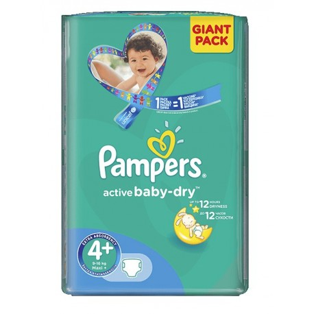 40 Couches Pampers Active Baby Dry taille 4+ sur 123 Couches