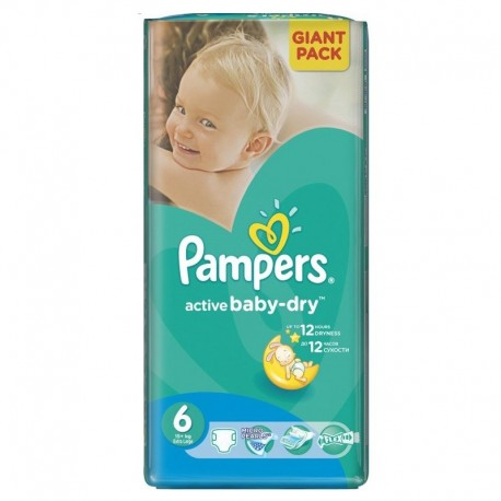 24 Couches Pampers Active Baby Dry taille 6 sur 123 Couches