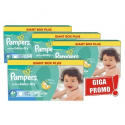 Giga pack 200 Couches Pampers Active Baby Dry taille 4+ sur 123 Couches