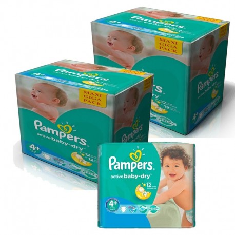 Giga pack 240 Couches Pampers Active Baby Dry taille 4+ sur 123 Couches
