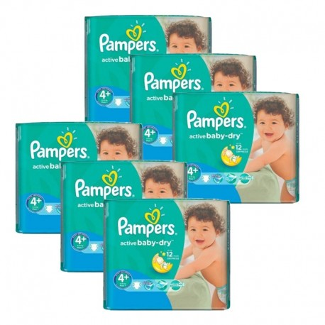 Maxi giga pack 360 Couches Pampers Active Baby Dry taille 4+ sur 123 Couches
