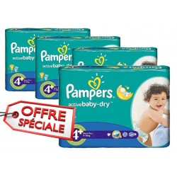 Maxi mega pack 400 Couches Pampers Active Baby Dry taille 4+