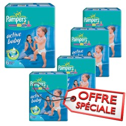 Pack 72 Couches Pampers Active Baby Dry taille 6